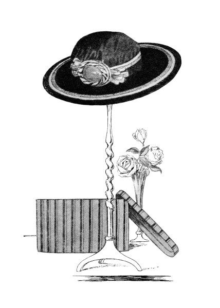 vintage hat clip art, black and white clipart, ladies hat on stand, hat box roses illustration, 1915 womens hat