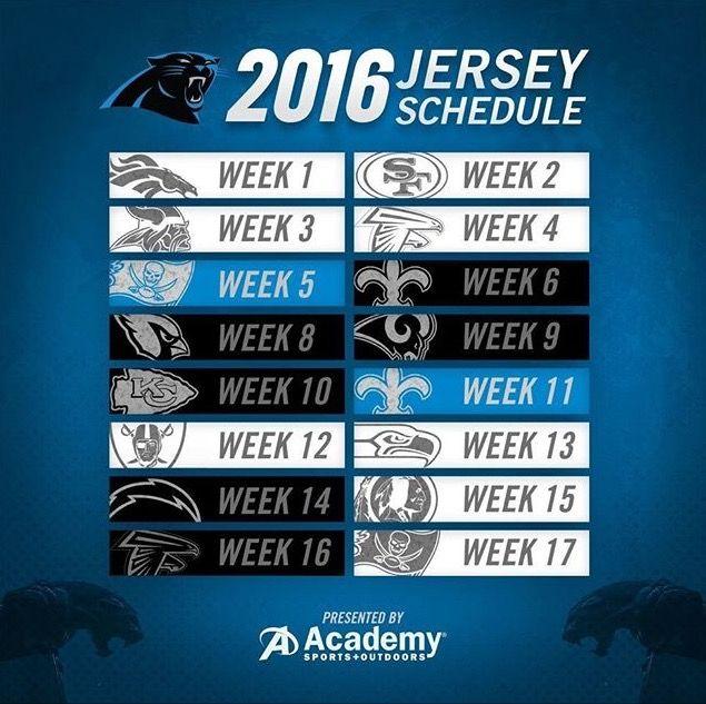 Carolina Panthers 2016 Jersey Schedule