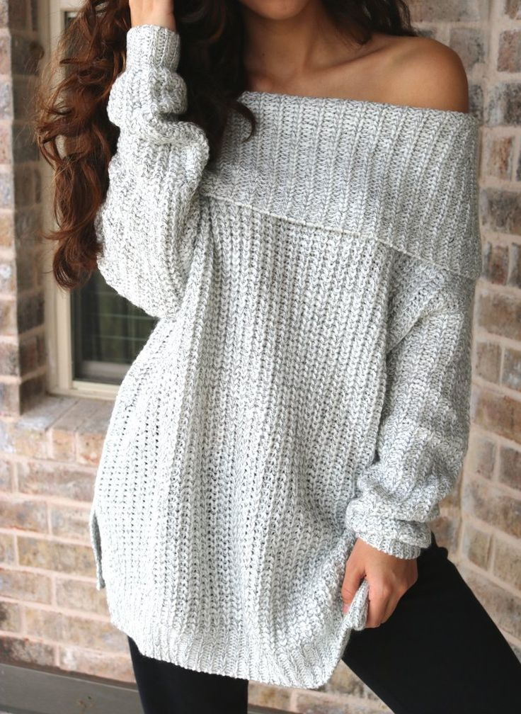 Zoe Off Shoulder Knit Sweater. Sweater obsession! This comfortable and beautiful off shoulder knit top with slight slits on the sides is a must have! The off shoulder knit look is on trend right now.