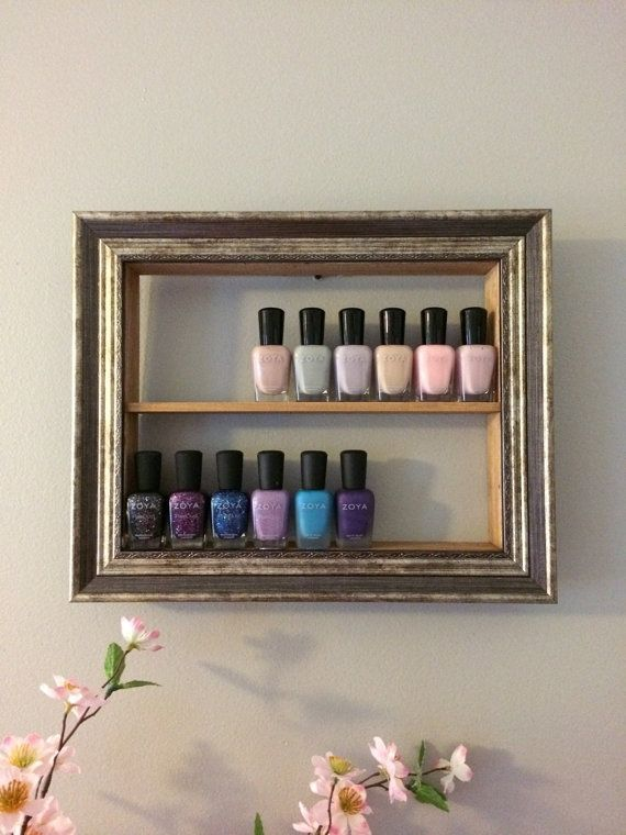 Gold Nail Polish Frame Rack Shadow Box by pinkofperfect on Etsy