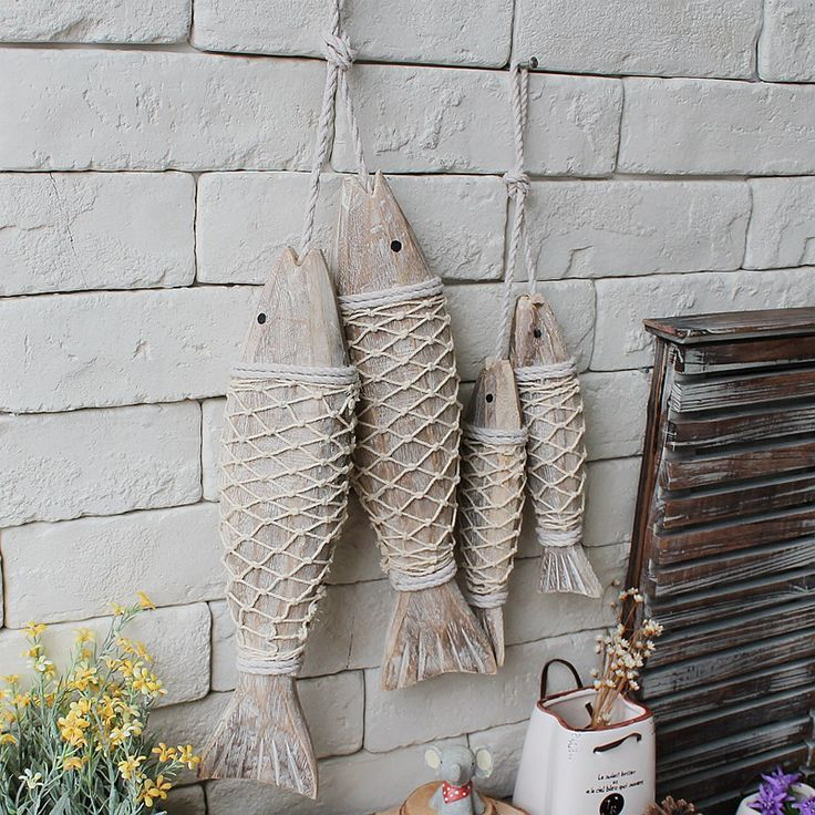 Mediterranean Style Wooden Fish Wall Hanging Decorated Home Decoration Accessories Animal Wall Decoration Marine Decor 2pcs/set with Free Shipping