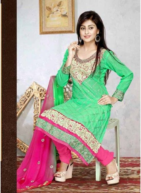 Adroitly Cotton Green & Pink Cotton #Salwar Kameez With Resham Work #churidarsuits #ethnicwear #womenapparel #womenfashion