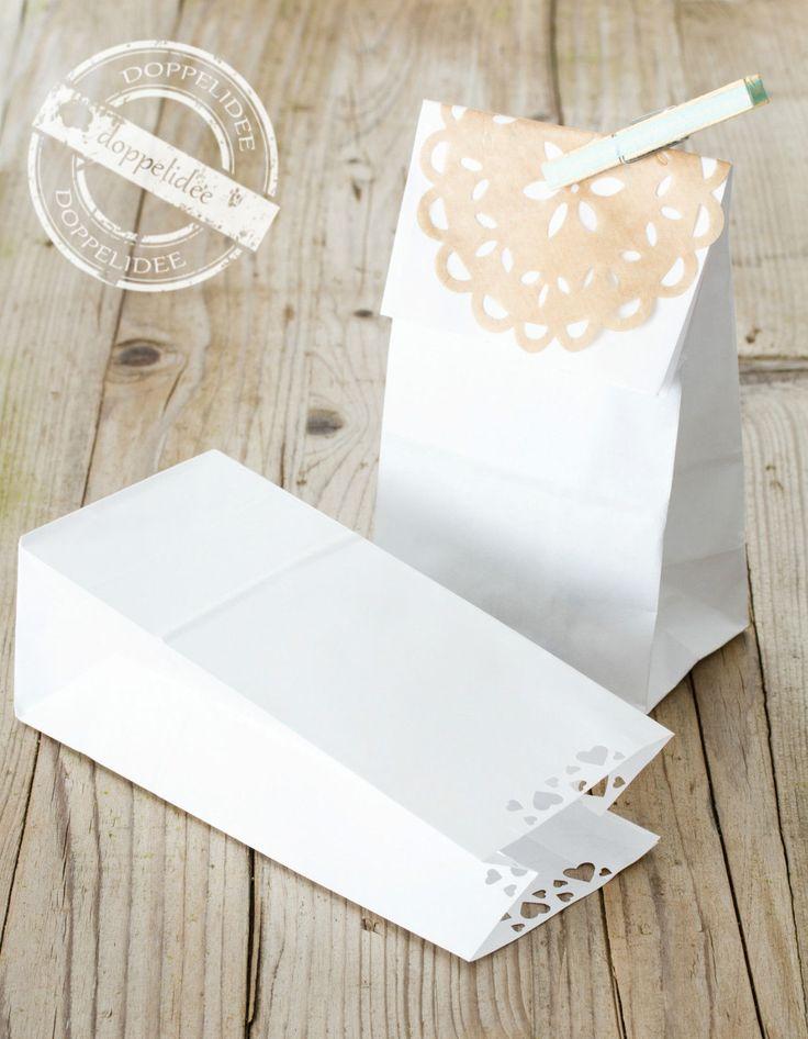 10 Geschenktüten HERZCHEN Papiertüten Papiertaschen Tüten Papier weiß  elegant | eBay
