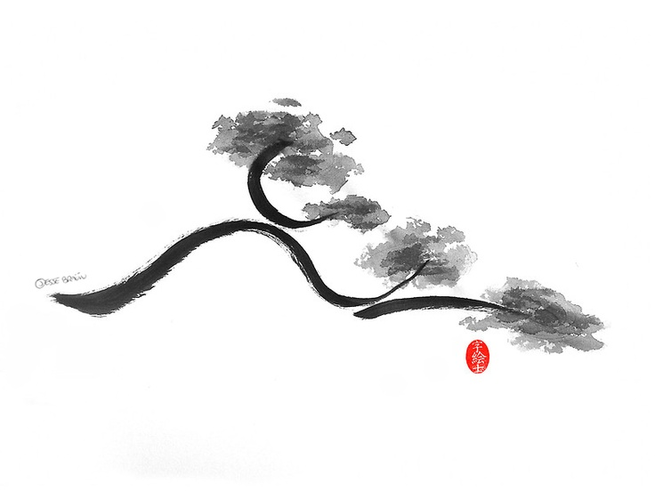 Branch, sumi-e by: 7e55e  #ink #art