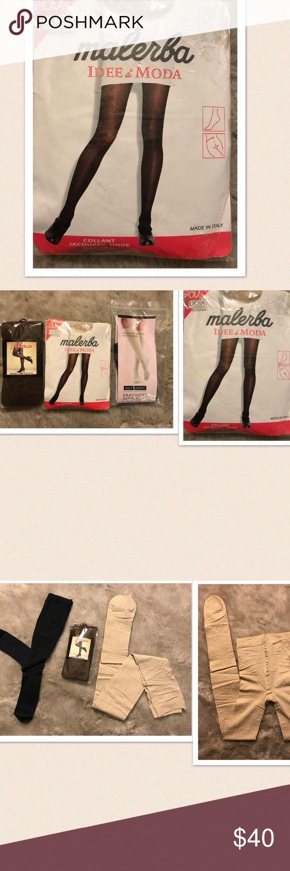 "Malerba Idee di Moda You will receive 1 Malerba Idee di Moda. Jacquard design. Thick pantyhose. Size: Medium. 1 Smart support trouser patterned socks. Size: Women's 5.5-7.5. Color: Black. 1 Maria Opaque Rib Tights. Size: One size fits. 5'-5' 10"" 100-180 lbs. Color: Brown. New. Malerba Accessories Hosiery & Socks"