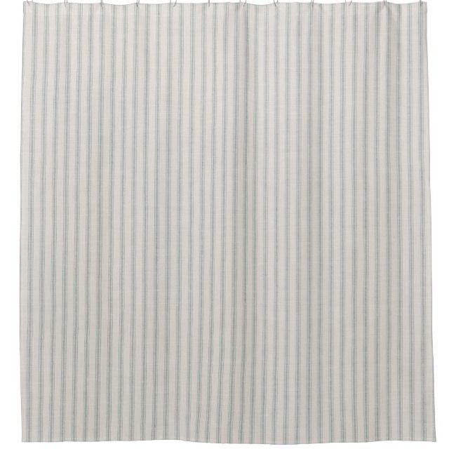 Blue Ticking Stripes Farmhouse Bath Decor Shower Curtain Zazzle Com With Images Country House Decor Country