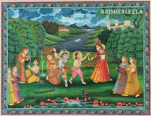 The picture narrating the Krishnaleela of Krishna in his childhood period.