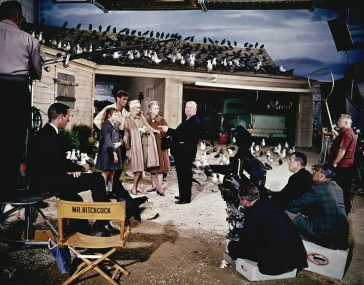 on set of The Birds 1963