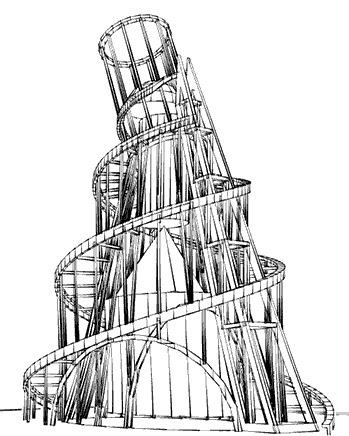 The not-yet-realized Tatlin's Tower.
