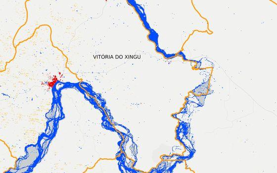 Vitória do Xingu em 2012. Os pontos vermelhos são área urbana. Os pontos amarelos mostram pastagens esparsas (Foto: MapBiomas)