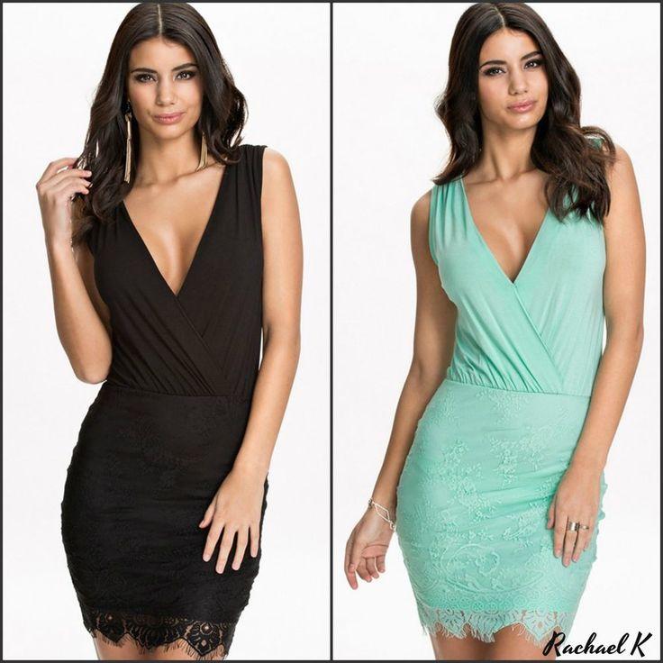 Sexy Women's Mini Lace Sleeveless Party Clubbing Evening V Semi Strecth Dress