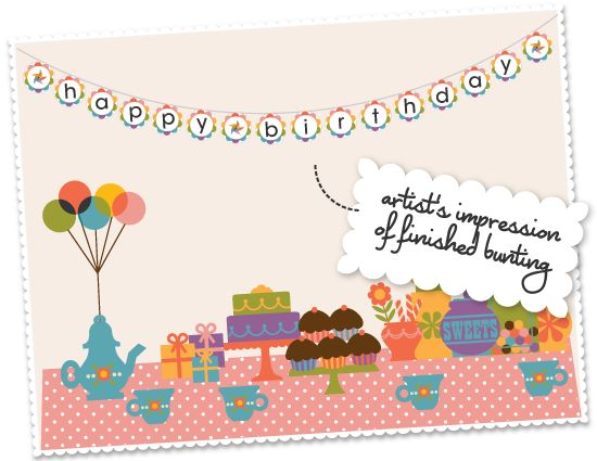 happy birthday' banner free printable - uses A4 paper (British size; can find in office supply stores)