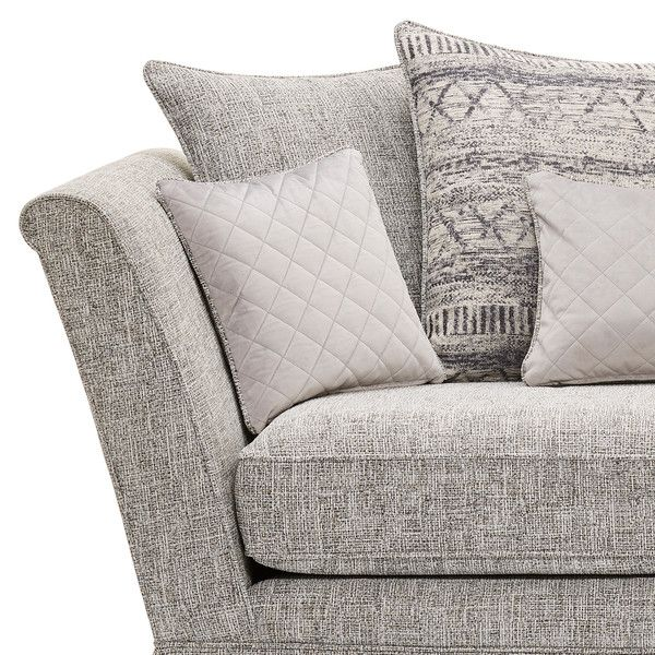 Carrington 2 Seater Pillow Back Sofa In Breathless Fabric Silver In 2020 2 Seater Sofa Silver Fabric Sofa