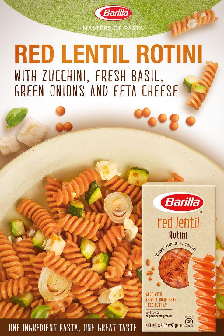 Barilla Red Lentil Rotini Salad With Zucchini Fresh Basil Green Onions Feta Cheese Recipe Recipes Vegetarian Pasta Recipes Vegetarian Recipes