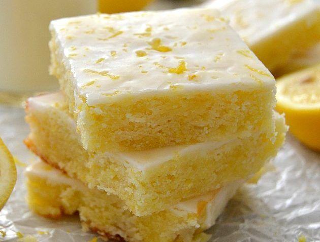 Lemony Lemon Brownies  Ingredients:  Lemon Brownies:  1/2 cup unsalted butter, softened  3/4 cup flour  2 eggs, large  2 Tbsp lemon zest  2 Tbsp lemon juice  3/4 cup granulated sugar  1/4 tsp sea saltTart Lemon Glaze:  4 Tbsp lemon juice  8 tsp lemon zest  1 cup icing sugarDirections:      Preheat
