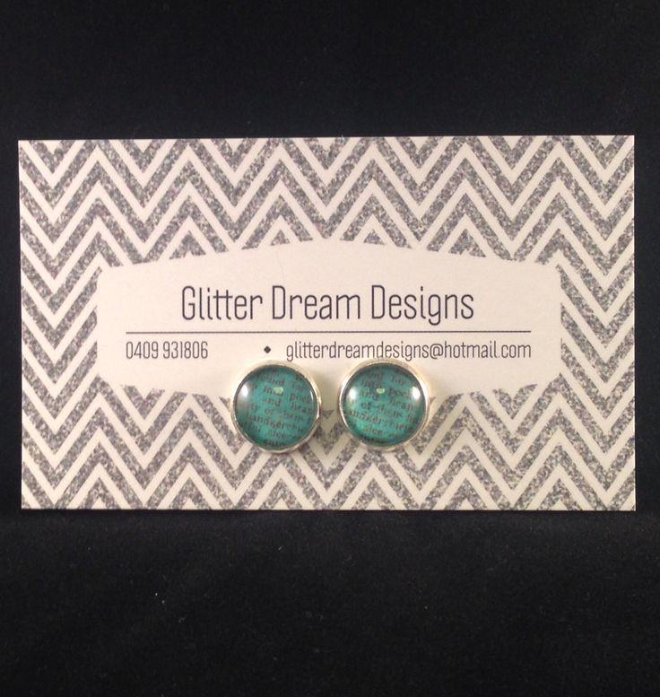 Order Code D19 Green Cabochon Earrings