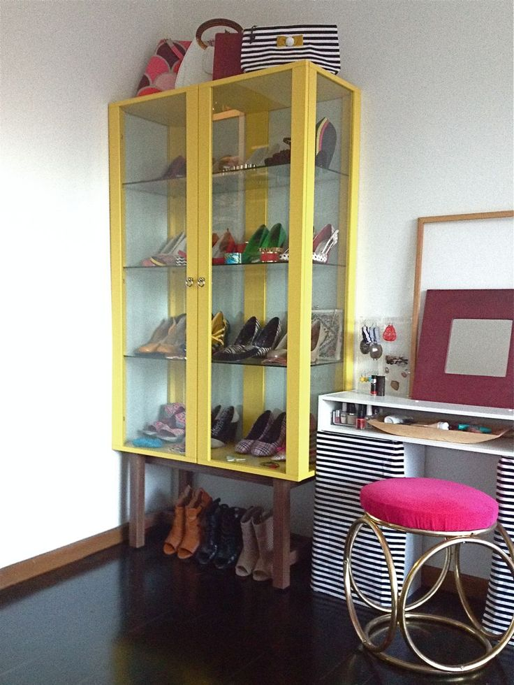The shoe display cabinet in the main bedroom. Also starring selected jewellery and handbags. Dressing table upcycled using excess cube bookcases, vanity stool rescued and re-upholstered.  #ikeastockholm