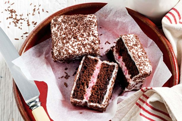 Add some glitz to the classic lamington with this inside-out version. Start this recipe the day before.
