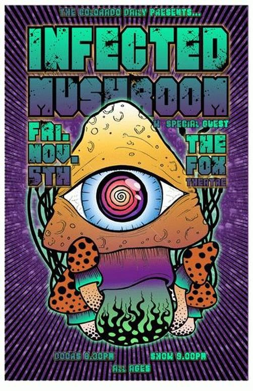 Original concert poster for Infected Mushroom at The Fox Theatre in Boulder, CO in 2010.  11x17 card stock.