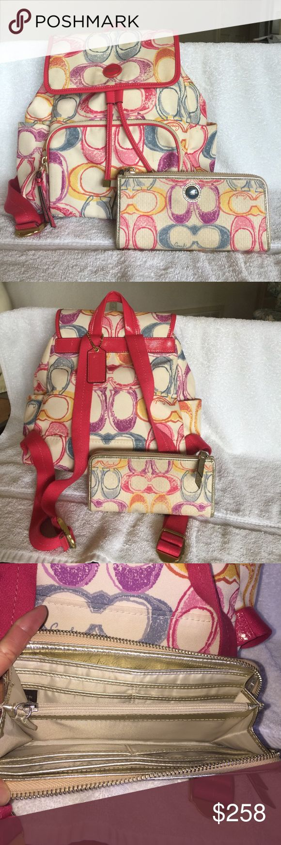 """Coach poppy signature backpack with wallet Coach poppy backpack,Pink/multicolor with gold hardware,used but in great condition,from smoke & pet free home,100% authentic,measuremet: 12.5""""(w)x11.5""""(H), it comes with matching wallet Coach Bags Backpacks"""