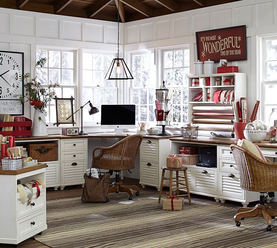 Whitney office collection | Pottery Barn -- in white.  Would be great for craft room.