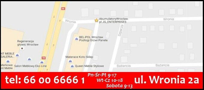 Mapa. Lokalizacja JG ENTERPRISES Wrocław ul.Wronia Akumulatory Wroclaw