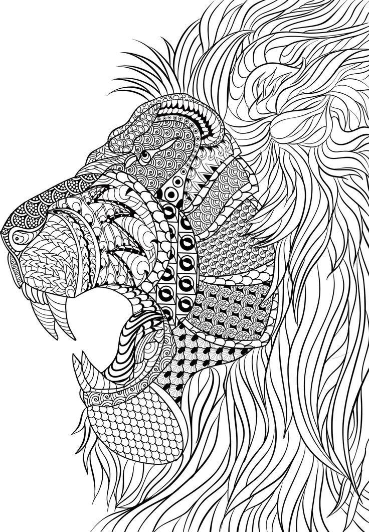 Lion Zentangle - Kleurplaten, Mandala kleurplaten en Adult ... | free online coloring pages for adults animals
