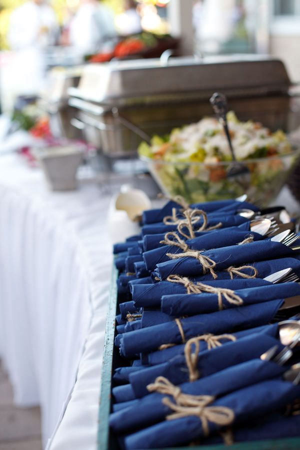"We tied up the silverware with a tag that said ""Happily Ever After Branden & Katie June 1,2013"" it was a detail that made it a little more elegant and helped ppl bc they weren't trying to juggle a handful of silverware and a napkin"