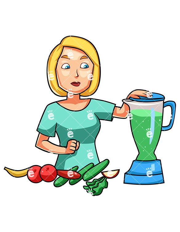 A Woman Preparing A Healthy Smoothie:  #apple #banana #blender #blonde #body #breakfast #cartoon #caucasian #character #cleaneating #clipart #cucumber #detox #diet #drawing #drink #drinkable #drinking #eat #eating #energetic #energy #female #food #foodie #fruit #graphic #greens #health #healthy #human #illustration #image #individual #jenna #juice #juicer #kale #lettuce #loss #lowfat...
