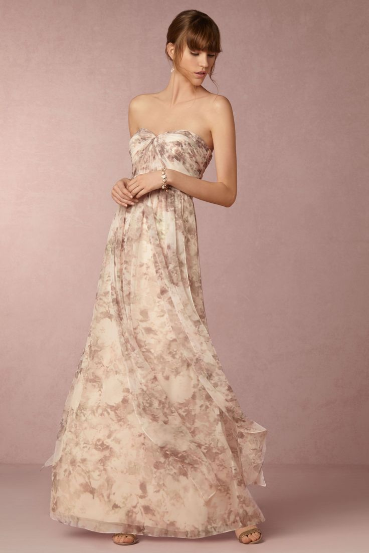 floral bridesmaid dress in shades of purple & blush | Nyla Dress from BHLDN