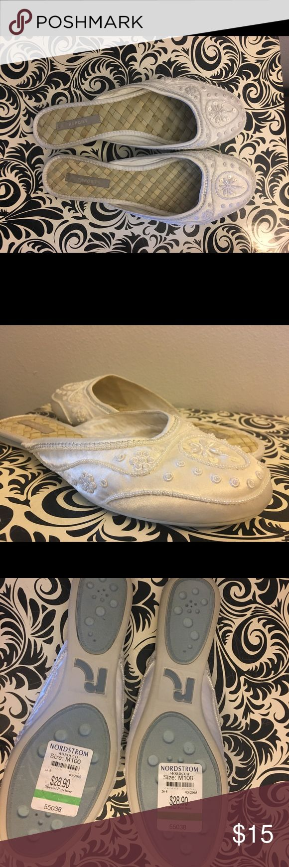 NIB - Report White Beaded Slides - Size 10 So pretty and delicate. These slides feature a woven insole and a white satin toe with intricate beadwork. They will come with their original box, and they are in new condition. Report Shoes Mules & Clogs