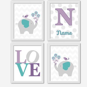 Lavender Baby Nursery Wall Art Purple Teal Elephants Monogram Baby Nursery…