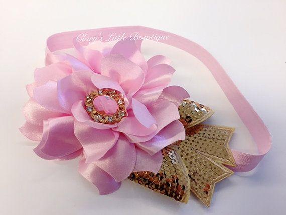 Diadema rosa y oro, venda de vacaciones, Navidad, bebita, lujo, apoyos, flor rosa grande, diadema de oro arco, diamantes de imitación elegante, bebé