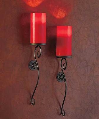 Candle Wall Sconces For Bedroom : Set of 2 LED Candle Wall Sconces Bedroom Bathroom Mood Lighting Red Home Decor