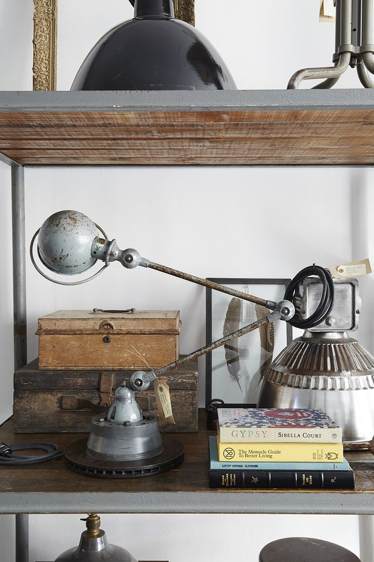 Our shop with interior goods shot by the lovely and talented Nicole Franzen... a room full of industrial pieces!