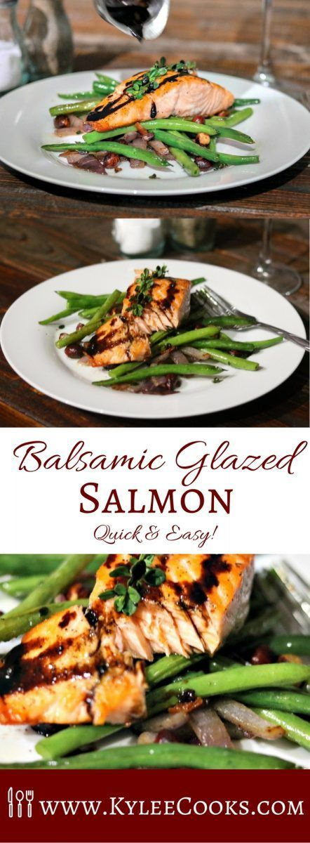 Fresh salmon, pan crisped, then oven roasted to finish - topped with a glaze made from balsamic vinegar, maple syrup, garlic and dijon. via @kyleecooks