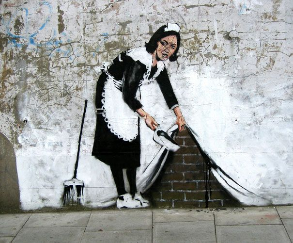 """Banksy is a quasi-anonymous English graffiti artist...His artworks are often satirical pieces of art on topics such as politics, culture, and ethics."""