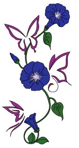 Morning Glory Flower Tattoos | Chuck Watters: Tattoo Design #1 - Butterflies and Morning Glories