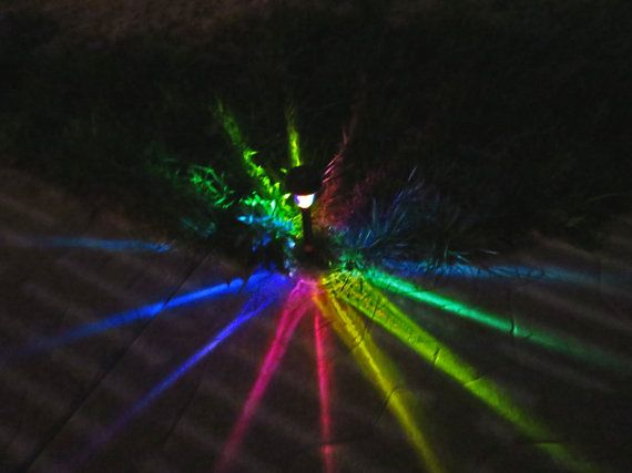 4 handgeschilderde Solar Rainbow STARBURST Path Lichten voor Landschap Verlichting, Patio, Playa, Burningman, Glamping, etc.