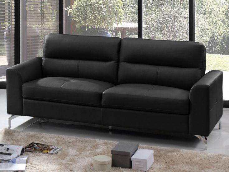 canap contemporain 3 places edori en cuir de buffle noir vente unique vente unique. Black Bedroom Furniture Sets. Home Design Ideas