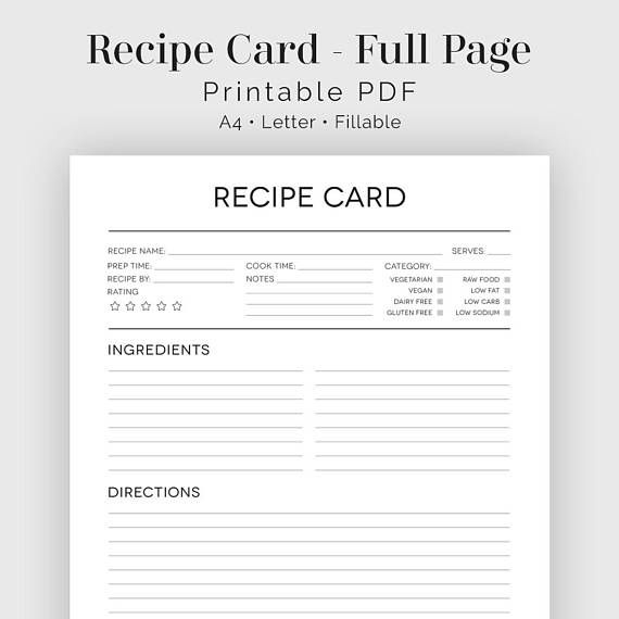 Recipe Card Full Page Black White Fillable Printable Pdf Instant Download Household Binder Recipe Cards Printable Recipe Cards Recipe Cards Template