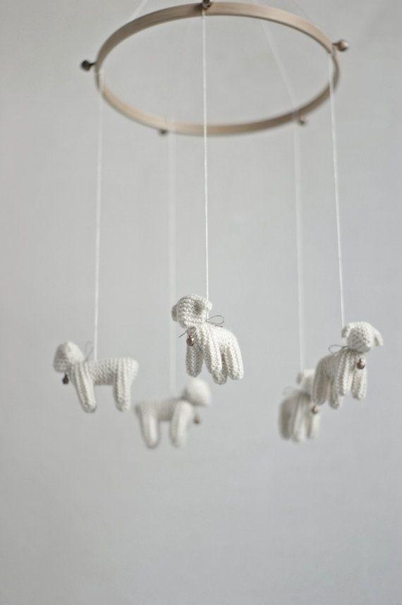 dormitorio móvil - móvil de oveja - cordero móvil - móvil de cuna de bebé
