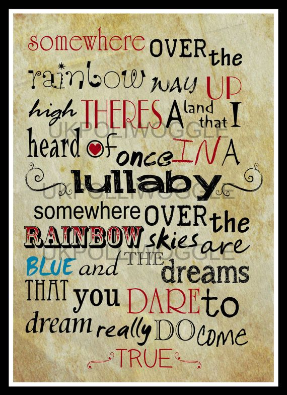 Somewhere Over The Rainbow Wizard Of Oz Print by PolliwoggleDesign, £8.99