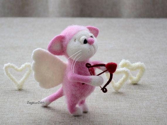 Needle felted cat, Needle felted animal, Home decor, Felting, Soft sculpture, Fiber Art, Gift.    Please meet Cupid Kitty a mischievous little