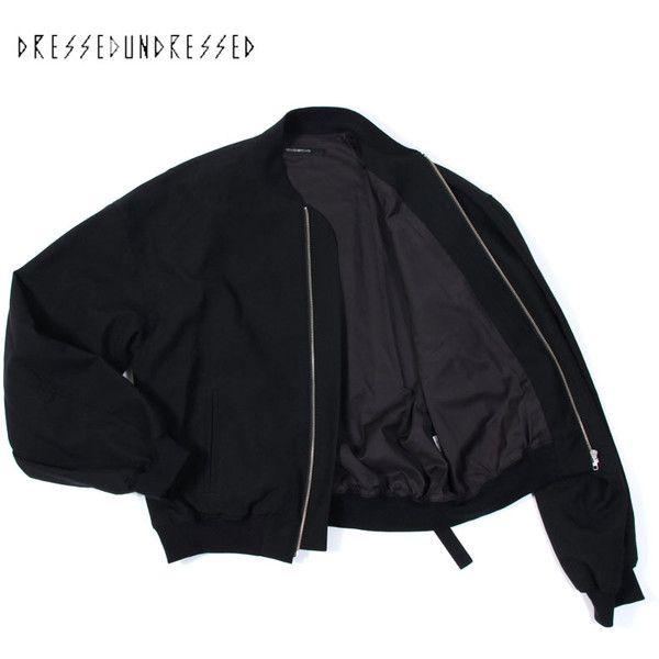 OVERSIZED WOOL BOMBER JACKET/BLACK 【DRESSEDUNDRESSED 2012-13A/W】 -... ❤ liked on Polyvore featuring outerwear, jackets, tops, coats & jackets, wool jacket, flight jacket, black bomber jacket, woolen jacket and oversized jacket