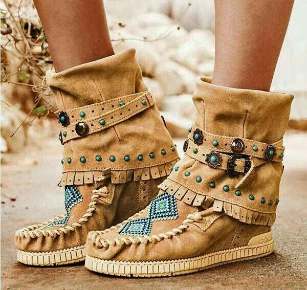 Bohemian style shoes, Boho boots, Boho