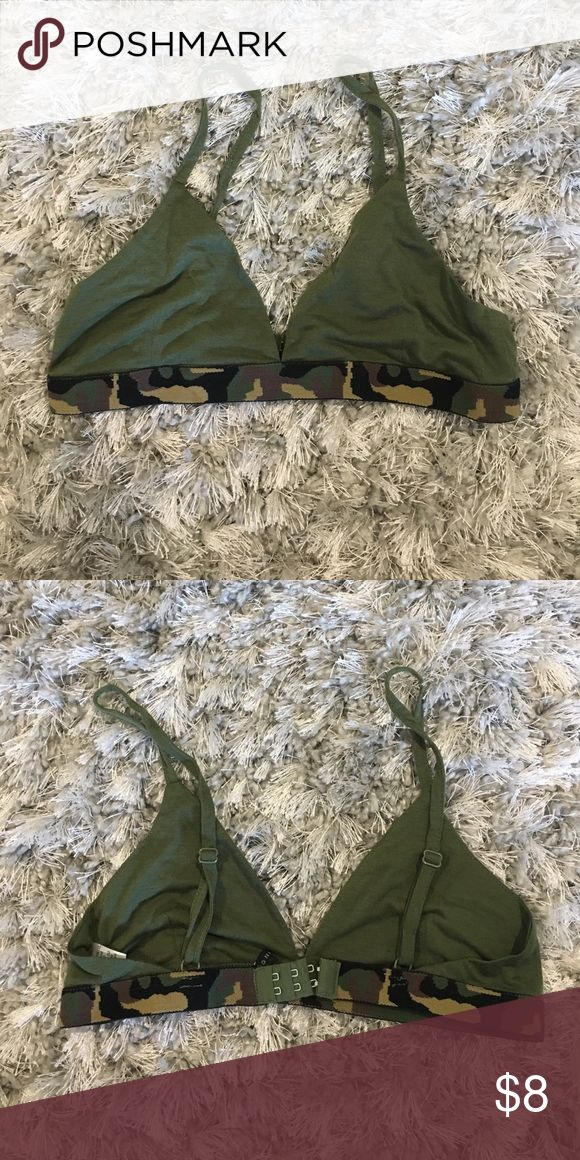 Green Camo Bra Urban Outfitters Bought at urban, wore once. Like new condition. No padding. Urban Outfitters Intimates & Sleepwear Bras