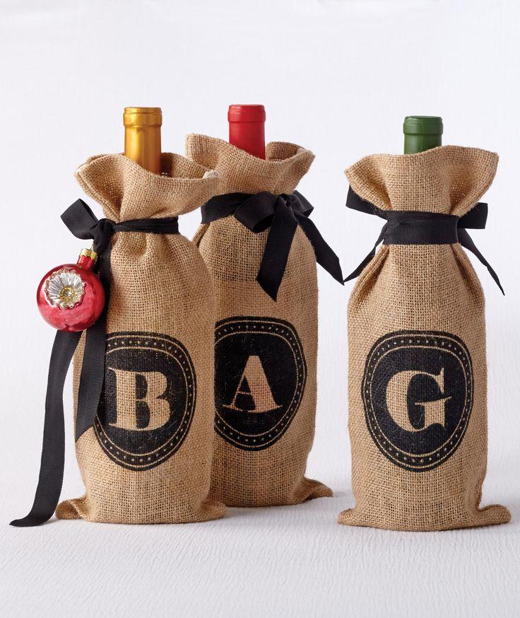 Jute Monogram Wine Bag Collection Via Cost Plus World Market WorldMarket Holiday Gift