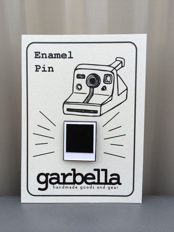 Polaroid film pin!  3/4 enamel lapel pin with military clutch back.  1 pin
