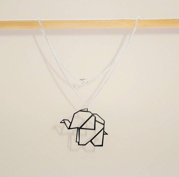 Origami Geometric Elephant Necklace